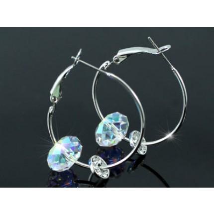 """Серьги 1.2"""" Hoop Earrings use AB Swarovski Crystal SE177 """