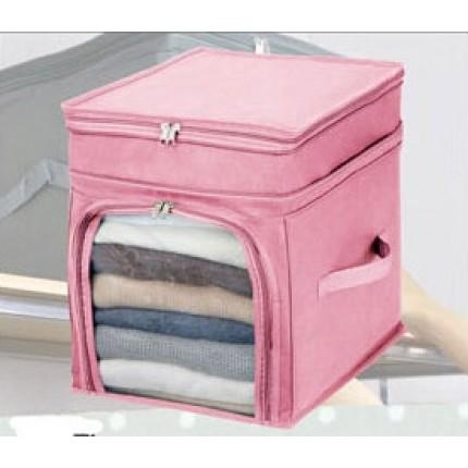 Органайзер для одежды и постельного белья бамбук Розовый