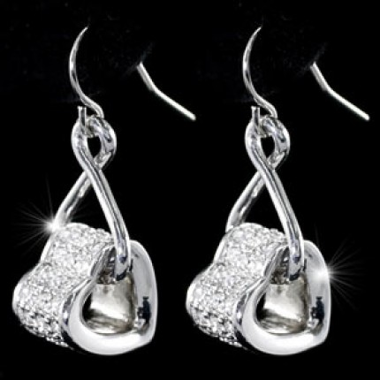 Серьги Dangle Heart Earrings use Swarovski Crystal SE284