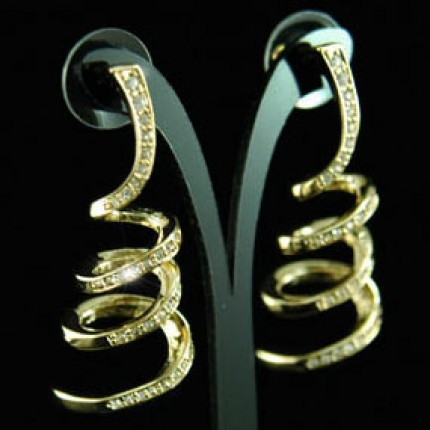 Серьги Dangle Spiral Gold Earrings use Swarovski Crystal SE037