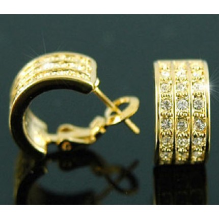 Серьги Gold Plated Huggie Earrings use Swarovski Crystal SE138