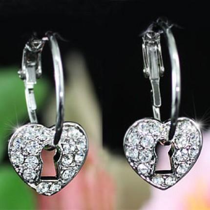 Серьги Heart Hoop Earrings use Swarovski Crystal SE308