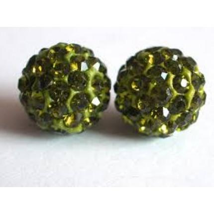 Бусина Шамбала с кристаллами 10мм. Оливково-зеленая (№228)