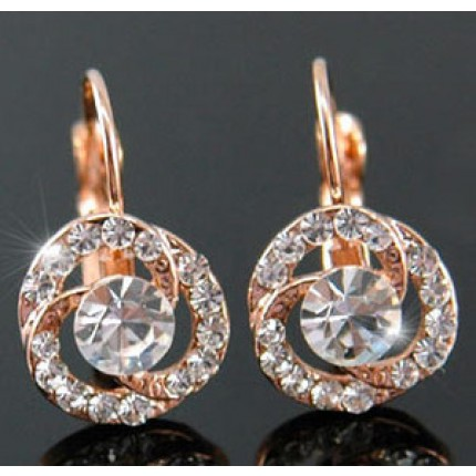Серьги Rose Gold Plated Rose Earrings use Swarovski Crystal SE089