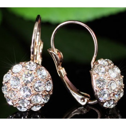 Серьги Rose Gold Plated Ball Earrings use Swarovski Crystal SE052