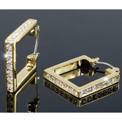 Серьги Square Gold Plated Earrings use Swarovski Crystal SE262