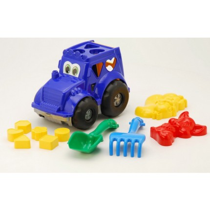 Сортер трактор с вкладышами, лопатка, грабельки, две большие пасочки