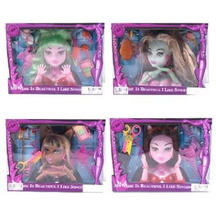 Голова куклы Monster High с заколками, косметикой