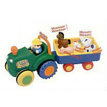 Игрушка на колесах - ТРАКТОР С ТРЕЙЛЕРОМ (на колесах, свет, озвуч. укр. яз.) от Kiddieland - preschool - под заказ