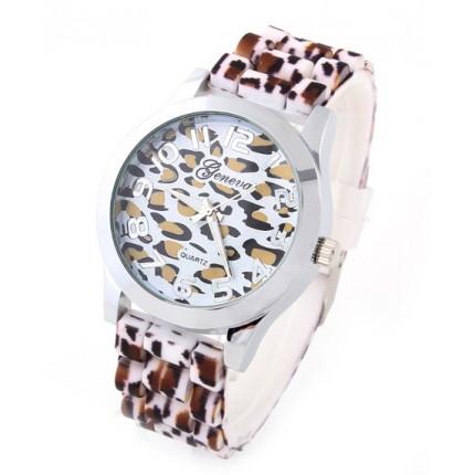 Часы наручные женские Geneva Leopard силиконовый ремешок
