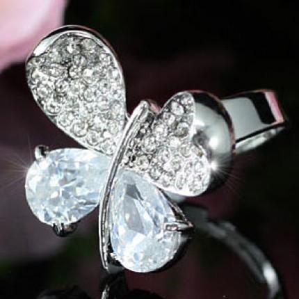 Кольцо 4 Carat Butterfly Ring use Swarovski Crystal Free Size SR107. Безразмерное