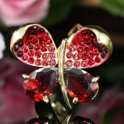 Кольцо 4 Carat Red Butterfly Ring use Swarovski Crystal  SR111. Безразмерное