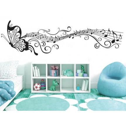 Интерьерная наклейка на стену Бабочка Музыка XY6023