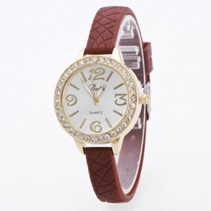Часы женские на тонком силиконовом ремешке 110-3 Шоколад