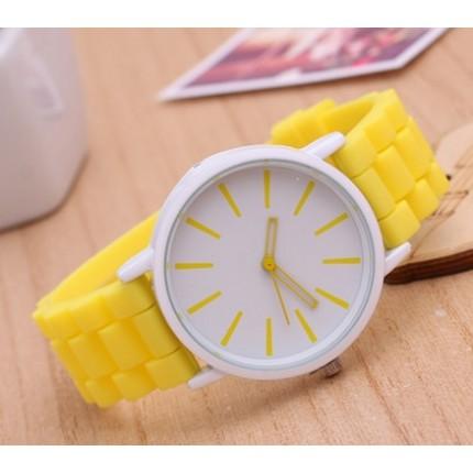Часы Женева Кварц с силиконовым ремешком Желтые 013-5