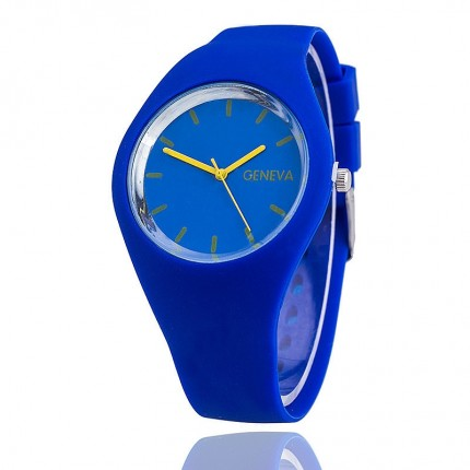 Часы женские Женева Geneva силиконовые синие 122-1