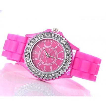 Часы женские GENEVA Luxury Женева Темно-Розовые