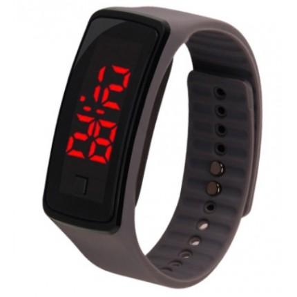 Спортивные силиконовые часы-браслет LED серые SW2-12