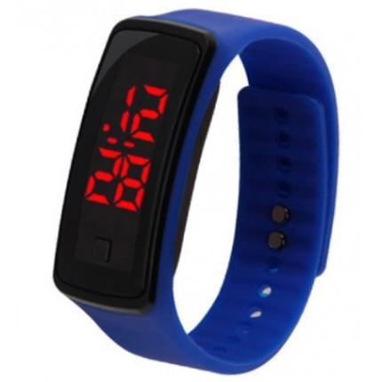 Спортивные силиконовые часы-браслет LED синие SW2-13