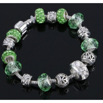 Браслет в стиле Пандора Шарм зеленый tb1490