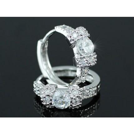 Серьги CZ Cubic Zirconia Simulated Diamond Huggie Earrings SE337