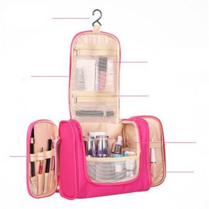 Многофункциональный Кейс для косметики, дорожная косметичка Темно-Розовый