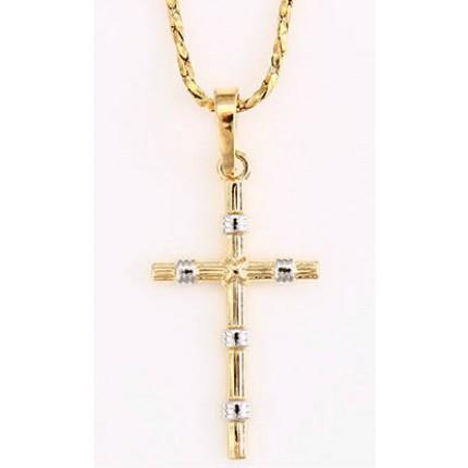 Простой крестик с комбинированной позолотой GF874