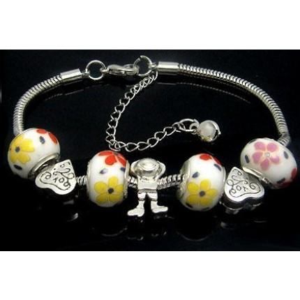 Браслет Pandora Style (P55). Фарфоровые шармы