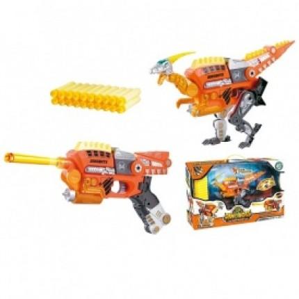 Динобот-трансформер - ВЕЛОЦИРАПТОР (30 см, бластер, мишень, 20 стрел) от Dinobots - под заказ