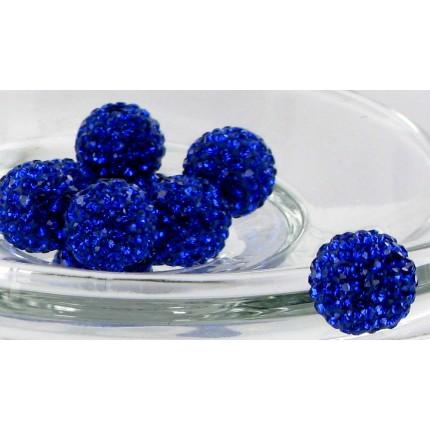 Бусина Шамбала с кристаллами 10мм. Синяя (№206)