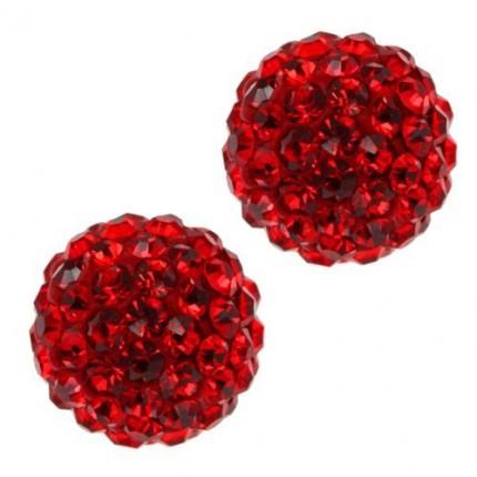 Бусина Шамбала с кристаллами 10мм. Красная (№227)