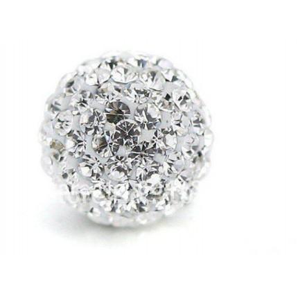 Бусина Шамбала с кристаллами 10мм. Белая (№001)