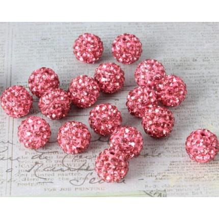 Бусина Шамбала Темно-розовая (№209) - цена за 10 штук