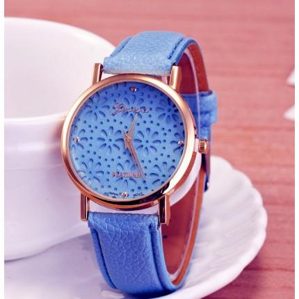Часы женские Женева Geneva полевые цветы голубые 065-01