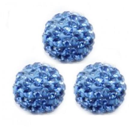 Бусина Шамбала с кристаллами 10мм. Ocean Blue (№211)