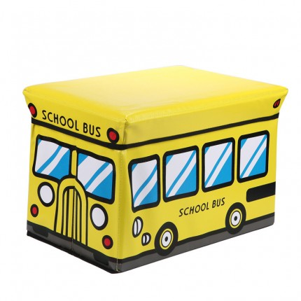 Пуф Короб складной, ящик для игрушек Школьный Автобус желтый