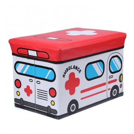 Пуф Короб складной, ящик для игрушек Скорая Помощь
