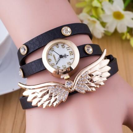 Часы-браслет длинные, наматывающиеся на руку Крылья 101-2 черные