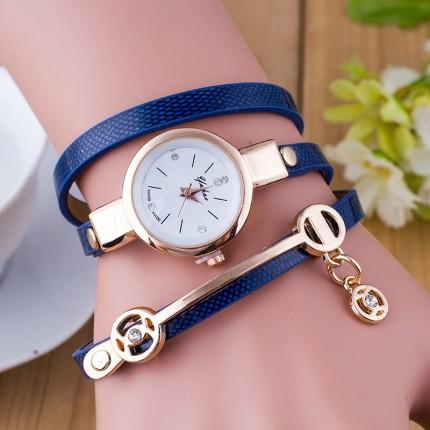 Часы-браслет длинные, наматывающиеся на руку 102-3 синие