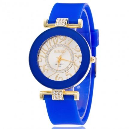 Часы женские силиконовый ремешок Синие 085-4