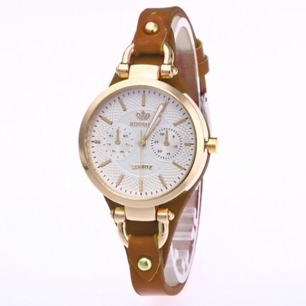 Часы женские Rinnady тонкий ремешок коричневая кожа 088-4