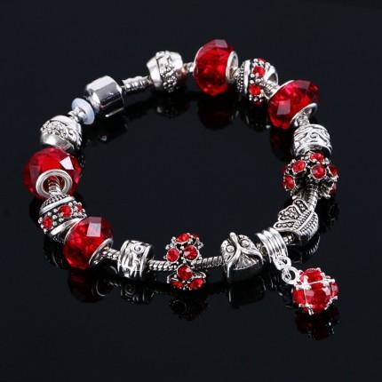 Браслет в стиле Пандора с подвеской кристалл Красный (tb1459)