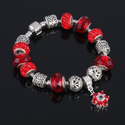 Браслет в стиле Пандора с подвеской Цветок красный tb1460