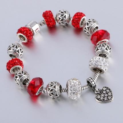 Браслет в стиле Пандора c подвеской Сердце красный tb1463