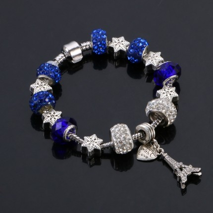 Браслет в стиле Пандора Эйфелева башня синий tb1465