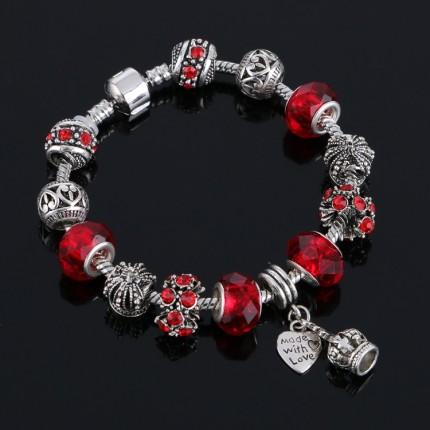 Браслет в стиле Пандора Корона красный tb1473