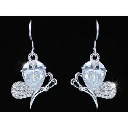 Серьги Dangle 4.5 Carat CZ Simulated Diamond Butterfly Earrings SE353
