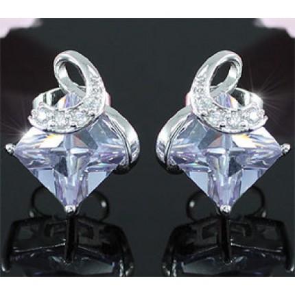 Серьги 2 Carat Blue Princess Cut Sapphire Stud Earrings SE252