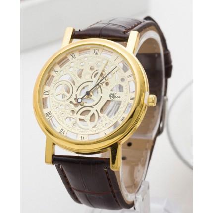 Часы мужские Скелетон золотистые с коричневым ремешком