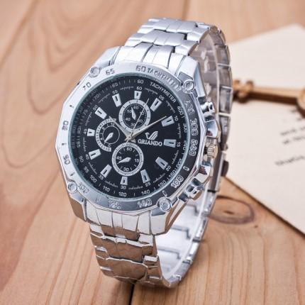Мужские часы Orlando черный циферблат серебристые mw2-02. Уценка